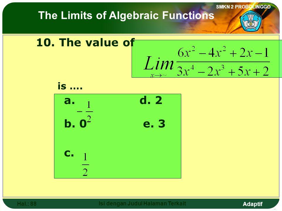 Adaptif SMKN 2 PROBOLINGGO Hal.: 87 Isi dengan Judul Halaman Terkait 10. Nilai dari adalah…. a. d. 2 b. 0 e. 3 c. Limit fungsi aljabar