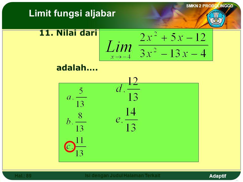 Adaptif SMKN 2 PROBOLINGGO Hal.: 88 Isi dengan Judul Halaman Terkait 10. The value of is …. a. d. 2 b. 0 e. 3 c. The Limits of Algebraic Functions