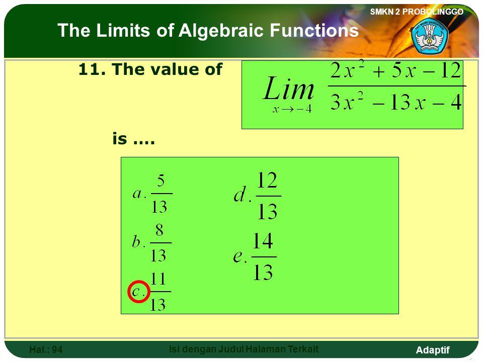Adaptif SMKN 2 PROBOLINGGO Hal.: 93 Isi dengan Judul Halaman Terkait 11. Nilai dari adalah…. Limit fungsi aljabar