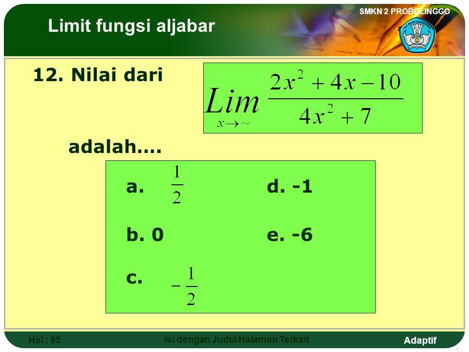 Adaptif SMKN 2 PROBOLINGGO Hal.: 94 Isi dengan Judul Halaman Terkait 11. The value of is …. The Limits of Algebraic Functions