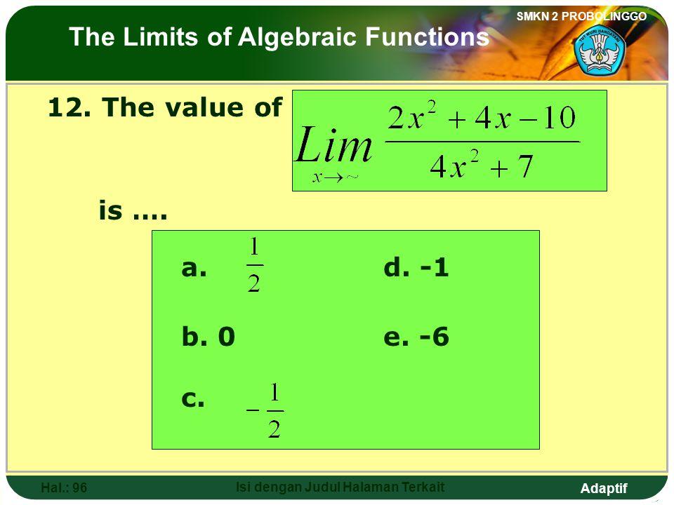 Adaptif SMKN 2 PROBOLINGGO Hal.: 95 Isi dengan Judul Halaman Terkait 12. Nilai dari adalah…. a. d. -1 b. 0e. -6 c. Limit fungsi aljabar