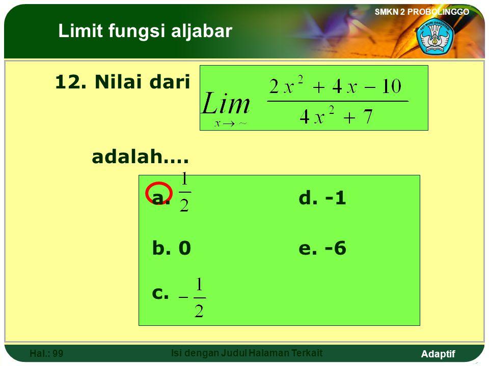 Adaptif SMKN 2 PROBOLINGGO Hal.: 98 Isi dengan Judul Halaman Terkait Discussion: The above square= The below square then The Limits of Algebraic Funct