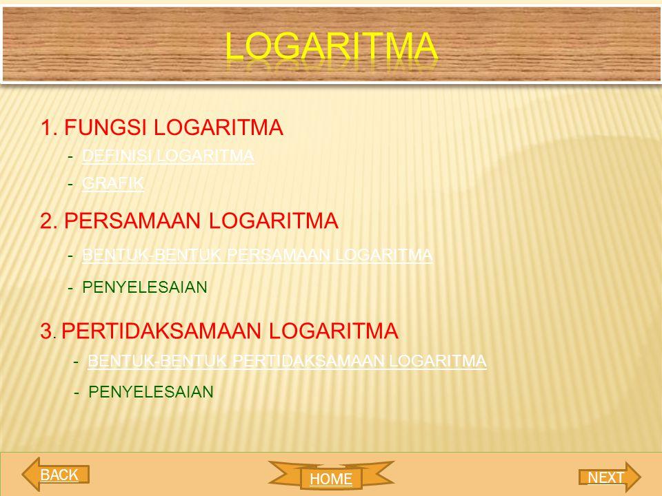 1. FUNGSI LOGARITMA 2. PERSAMAAN LOGARITMA 3. PERTIDAKSAMAAN LOGARITMA - DEFINISI LOGARITMADEFINISI LOGARITMA - GRAFIKGRAFIK - BENTUK-BENTUK PERSAMAAN