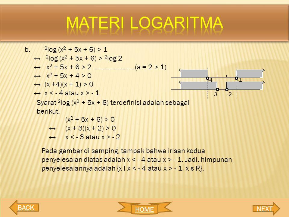 b. 2 log (x 2 + 5x + 6) > 1 ↔ 2 log (x 2 + 5x + 6) > 2 log 2 ↔ x 2 + 5x + 6 > 2 …………………..(a = 2 > 1) ↔ x 2 + 5x + 4 > 0 ↔ (x +4)(x + 1) > 0 ↔ x - 1 Sy