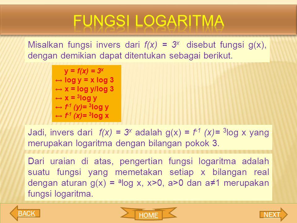 Misalkan fungsi invers dari f(x) = 3 x disebut fungsi g(x), dengan demikian dapat ditentukan sebagai berikut. y = f(x) = 3 x ↔ log y = x log 3 ↔ x = l