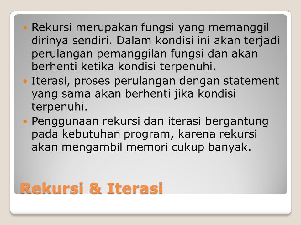 Rekursi & Iterasi Rekursi merupakan fungsi yang memanggil dirinya sendiri.
