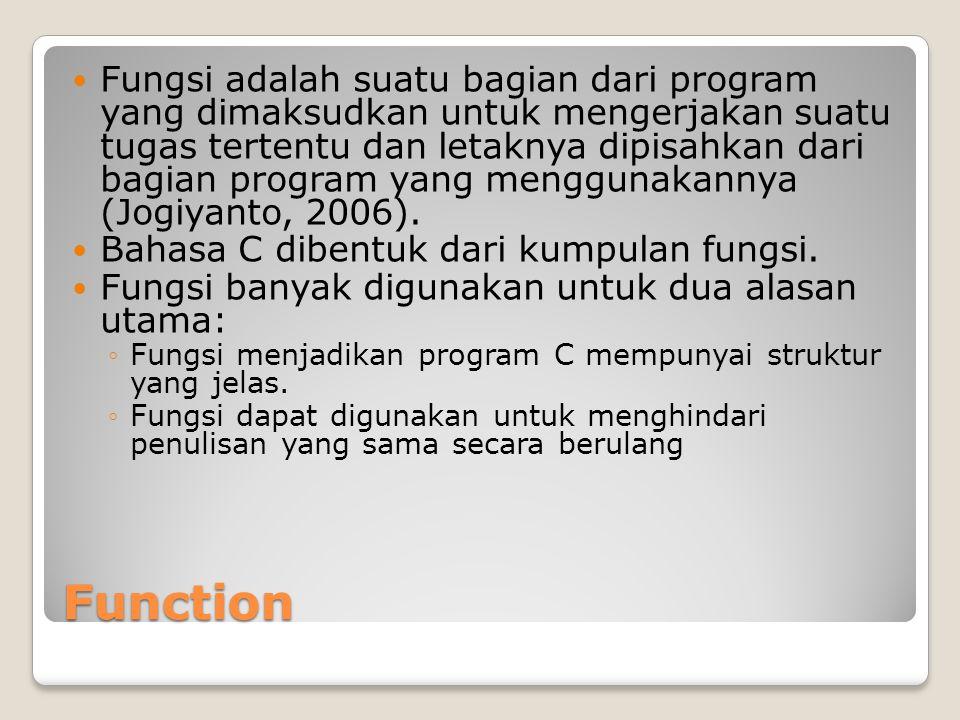 Function Fungsi adalah suatu bagian dari program yang dimaksudkan untuk mengerjakan suatu tugas tertentu dan letaknya dipisahkan dari bagian program yang menggunakannya (Jogiyanto, 2006).
