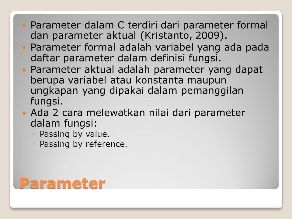 Parameter Parameter dalam C terdiri dari parameter formal dan parameter aktual (Kristanto, 2009).