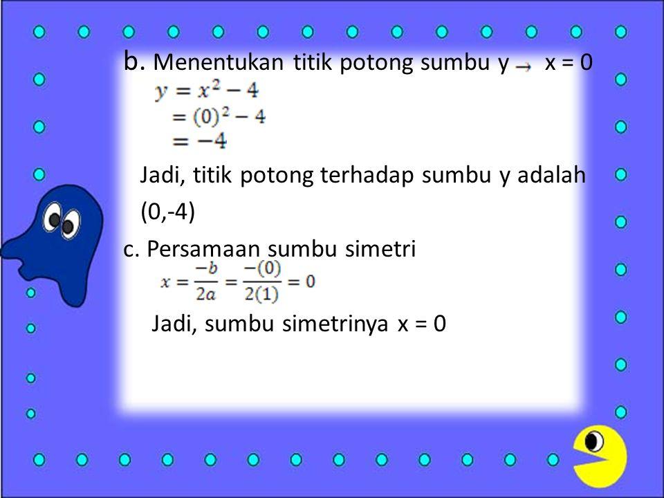 b.Menentukan titik potong sumbu y x = 0 Jadi, titik potong terhadap sumbu y adalah (0,-4) c.