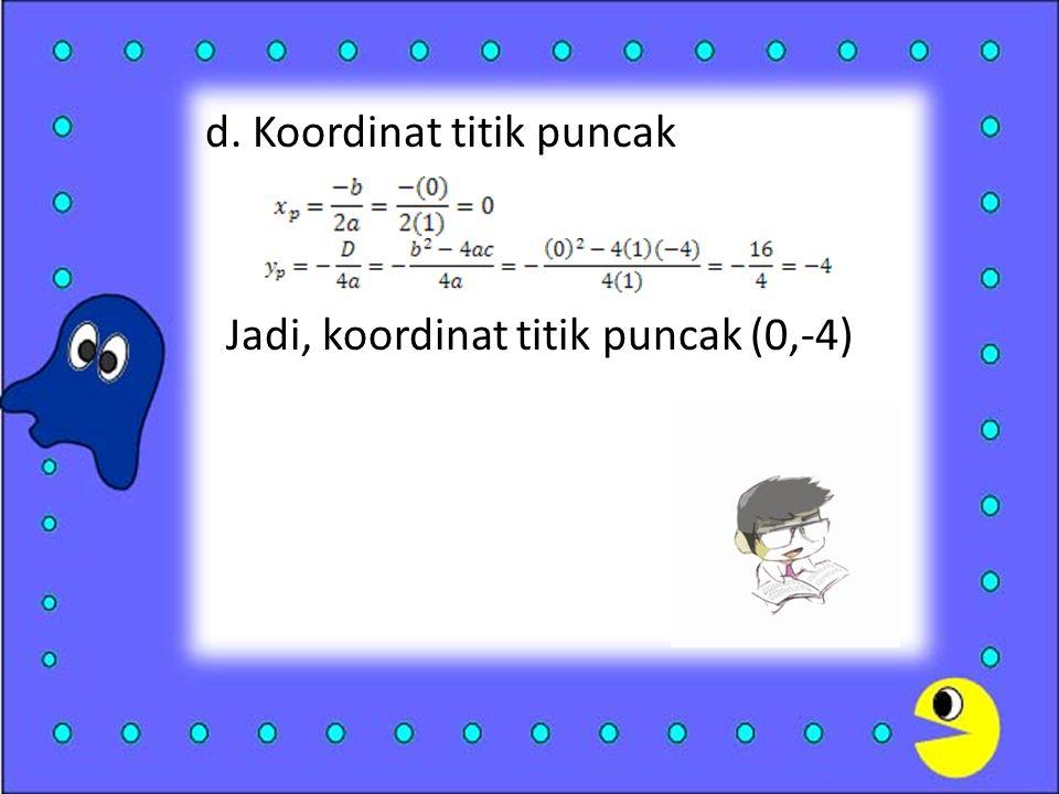 d. Koordinat titik puncak Jadi, koordinat titik puncak (0,-4)