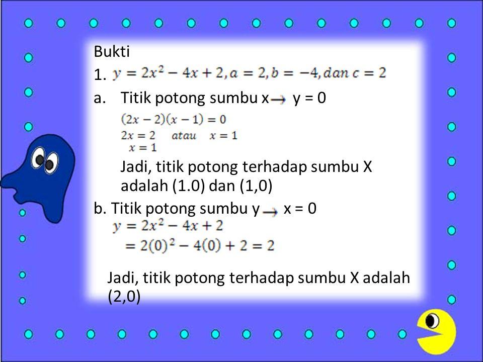 Bukti 1.a.Titik potong sumbu x y = 0 Jadi, titik potong terhadap sumbu X adalah (1.0) dan (1,0) b.