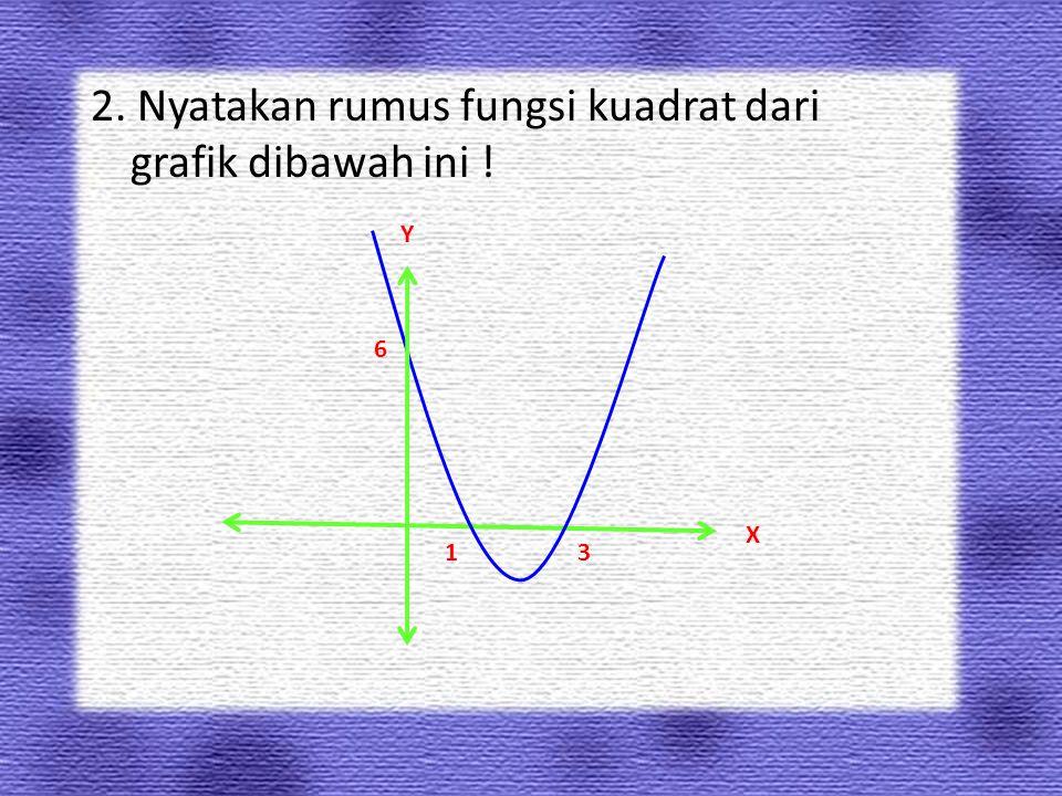 2. Nyatakan rumus fungsi kuadrat dari grafik dibawah ini ! Y X 31 6
