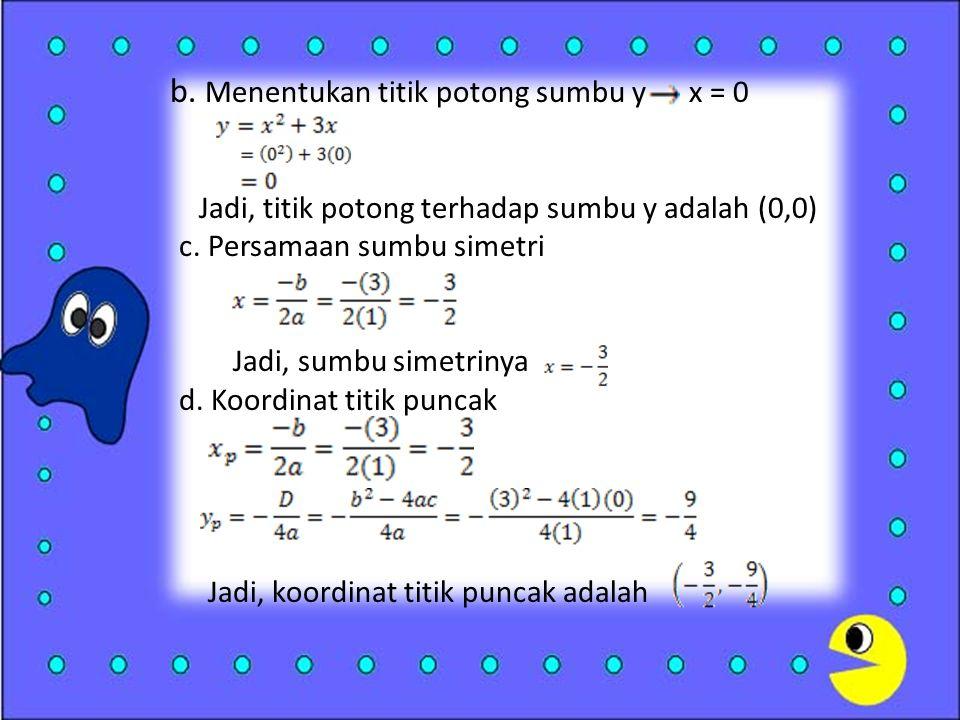 b.Menentukan titik potong sumbu y x = 0 Jadi, titik potong terhadap sumbu y adalah (0,0) c.