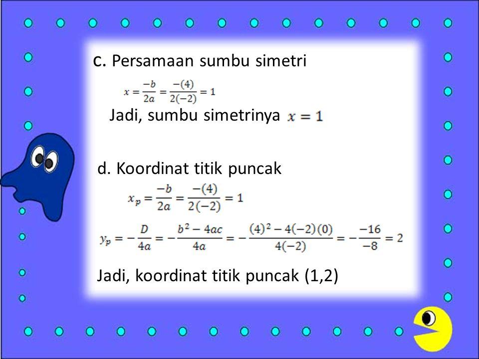 c.Persamaan sumbu simetri Jadi, sumbu simetrinya d.