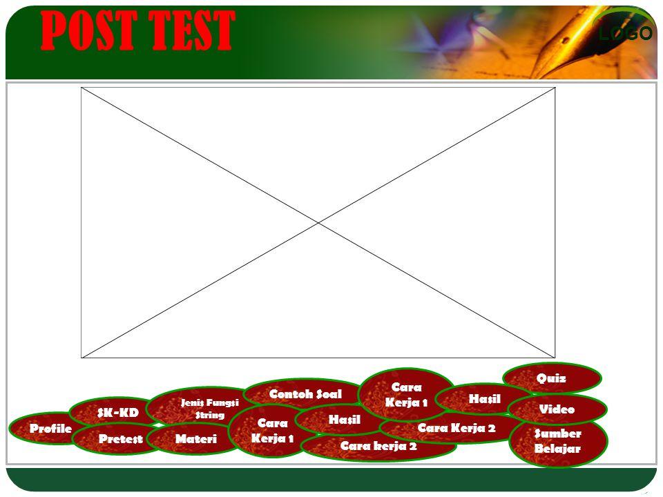 LOGO Profile SK-KD Pretest Jenis Fungsi String Materi Contoh Soal Cara Kerja 1 Cara kerja 2 Hasil Cara Kerja 2 Cara Kerja 1 Quiz Hasil Sumber Belajar Video POST TEST