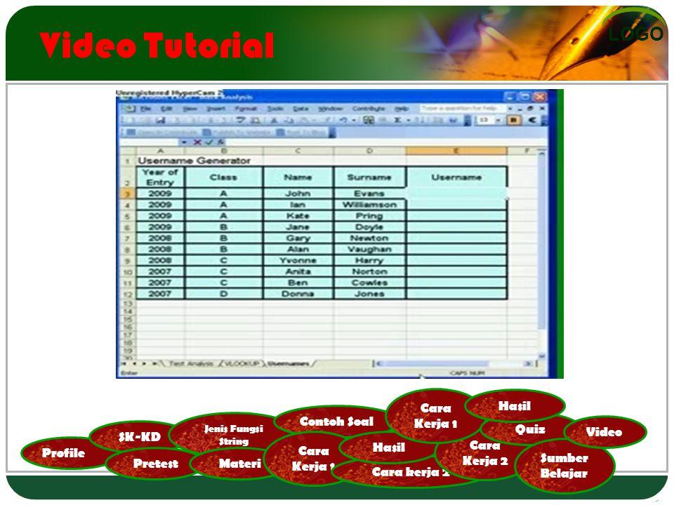 LOGO Profile SK-KD Pretest Jenis Fungsi String Materi Contoh Soal Cara Kerja 1 Cara kerja 2 Hasil Cara Kerja 2 Cara Kerja 1 Quiz Hasil Sumber Belajar Video Video Tutorial