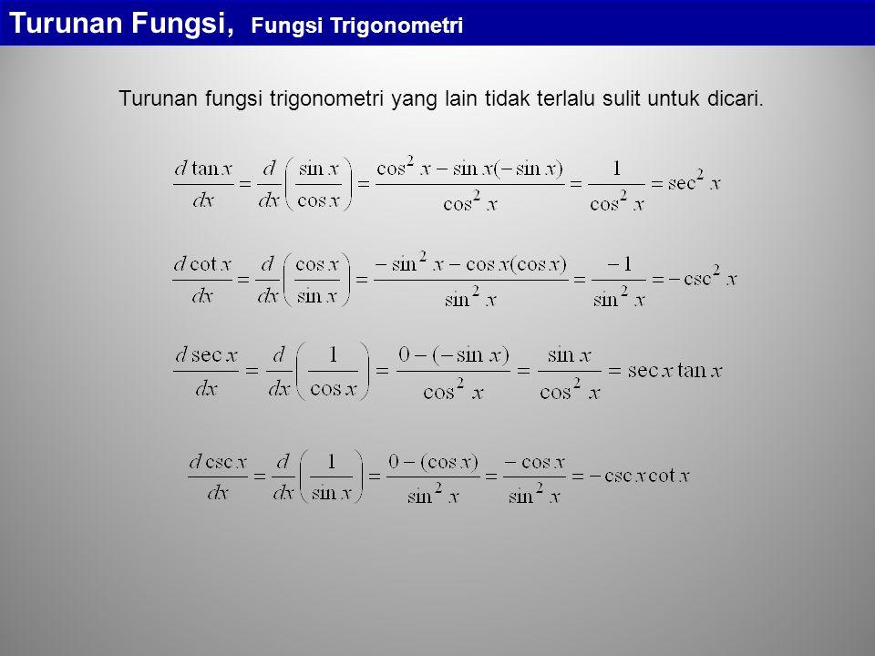 Turunan Fungsi, Fungsi Trigonometri Contoh: Tegangan pada suatu kapasitor dengan kapasitansi C = 2  10 -6 farad merupakan fungsi sinus v C = 200sin400t volt.