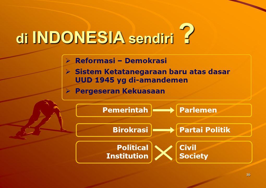 16 di INDONESIA sendiri ?  Reformasi – Demokrasi  Sistem Ketatanegaraan baru atas dasar UUD 1945 yg di-amandemen  Pergeseran Kekuasaan Pemerintah B