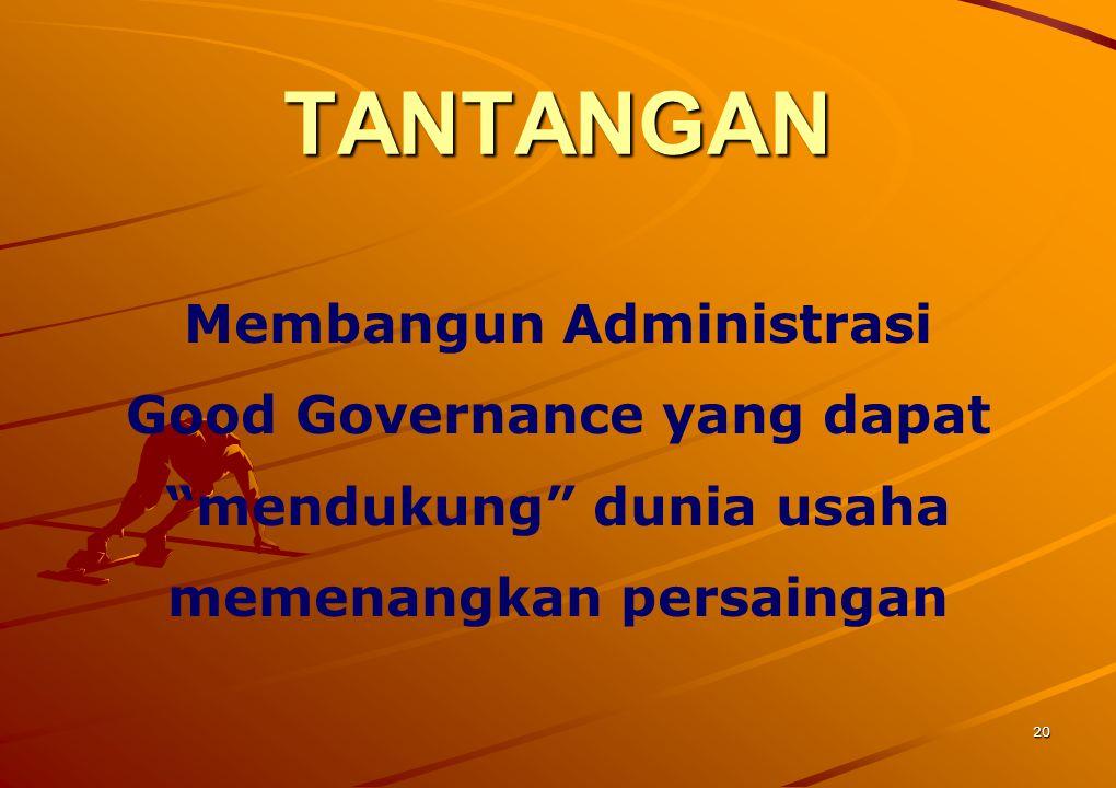 """20 TANTANGAN Membangun Administrasi Good Governance yang dapat """"mendukung"""" dunia usaha memenangkan persaingan"""