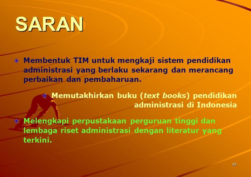 23 SARAN Membentuk TIM untuk mengkaji sistem pendidikan administrasi yang berlaku sekarang dan merancang perbaikan dan pembaharuan. Memutakhirkan buku