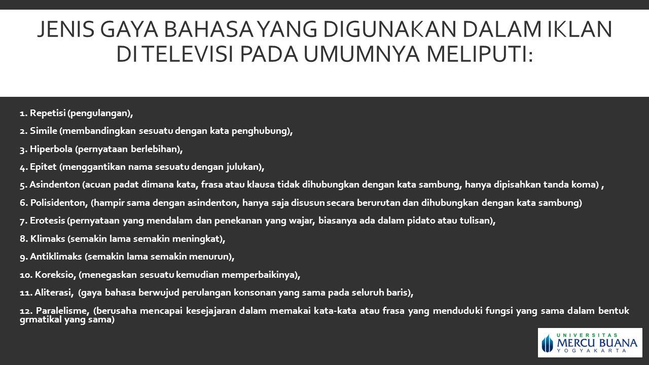 JENIS GAYA BAHASA YANG DIGUNAKAN DALAM IKLAN DI TELEVISI PADA UMUMNYA MELIPUTI: 1. Repetisi (pengulangan), 2. Simile (membandingkan sesuatu dengan kat