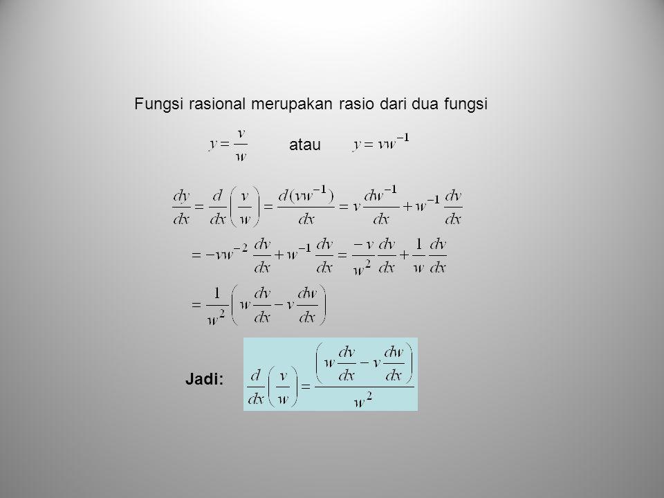Fungsi rasional merupakan rasio dari dua fungsi atau Jadi: