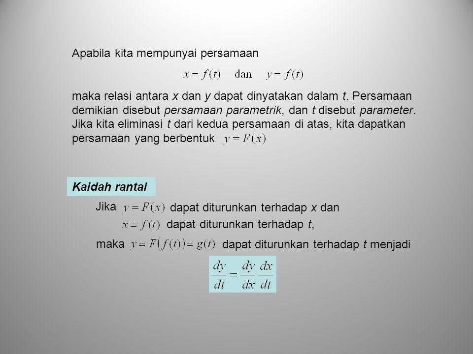 Kaidah rantai dapat diturunkan terhadap t, dapat diturunkan terhadap x dan Jika dapat diturunkan terhadap t menjadi maka Apabila kita mempunyai persam