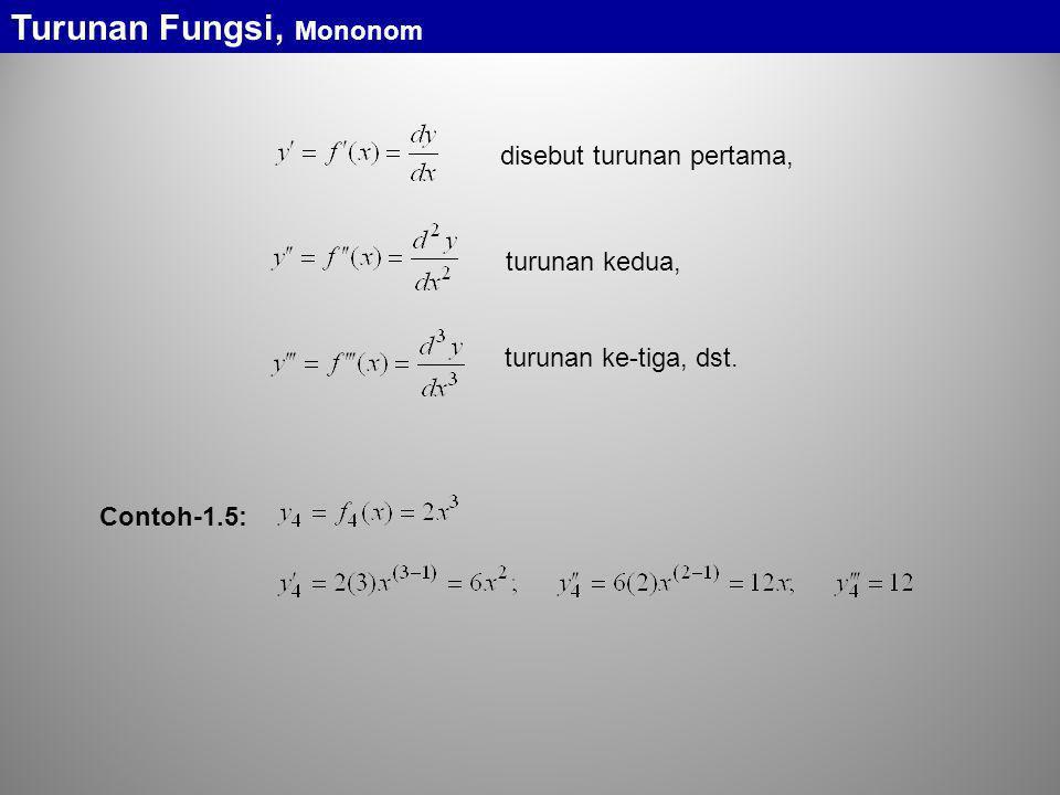 disebut turunan pertama, turunan kedua, turunan ke-tiga, dst. Turunan Fungsi, Mononom Contoh-1.5: