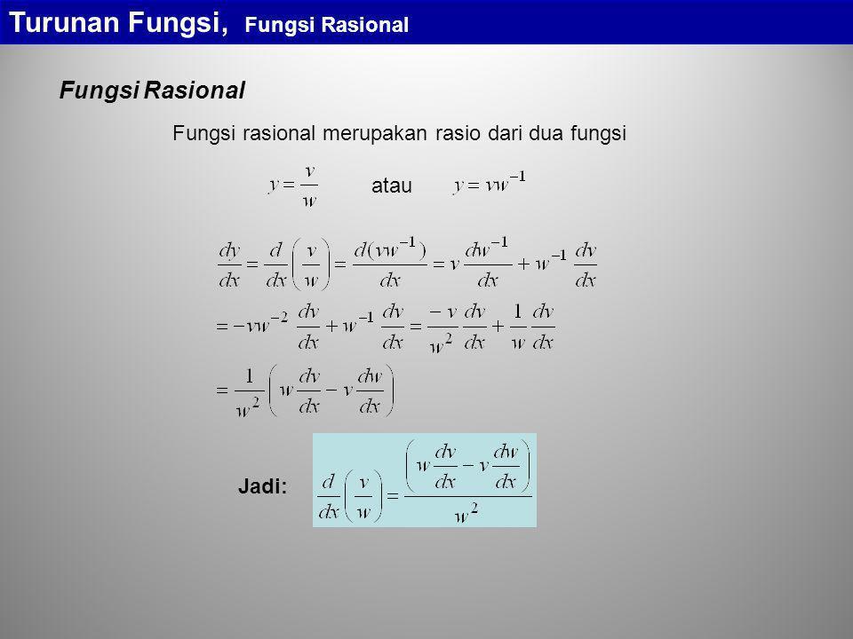 Turunan Fungsi, Fungsi Rasional Fungsi Rasional Fungsi rasional merupakan rasio dari dua fungsi atau Jadi: