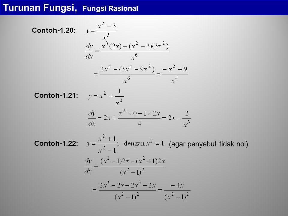 Turunan Fungsi, Fungsi Rasional Contoh-1.20: Contoh-1.21: (agar penyebut tidak nol) Contoh-1.22: