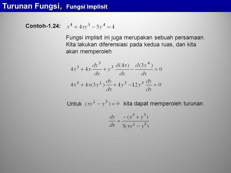 Turunan Fungsi, Fungsi Implisit Fungsi implisit ini juga merupakan sebuah persamaan. Kita lakukan diferensiasi pada kedua ruas, dan kita akan memperol