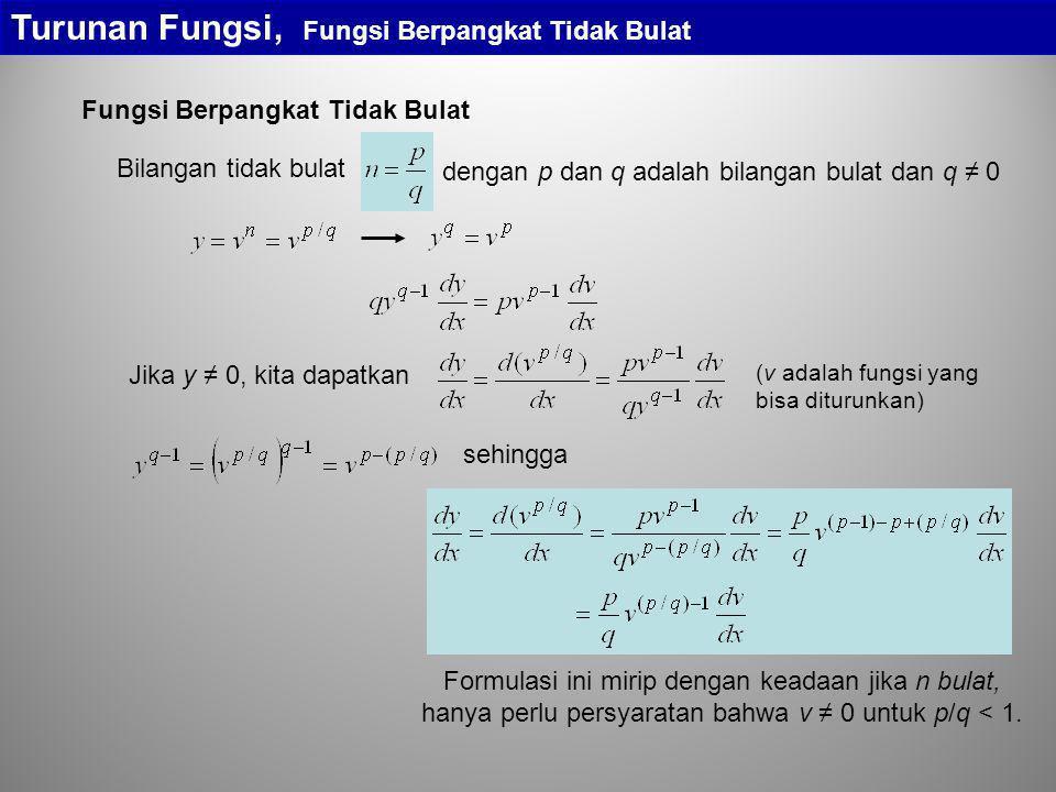 Turunan Fungsi, Fungsi Berpangkat Tidak Bulat (v adalah fungsi yang bisa diturunkan) dengan p dan q adalah bilangan bulat dan q ≠ 0 Bilangan tidak bul