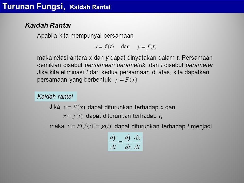Turunan Fungsi, Kaidah Rantai Kaidah rantai dapat diturunkan terhadap t, dapat diturunkan terhadap x dan Jika dapat diturunkan terhadap t menjadi maka