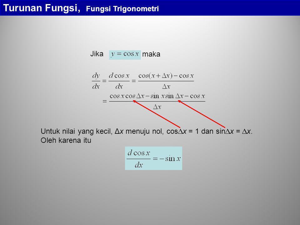 Turunan Fungsi, Fungsi Trigonometri maka Jika Untuk nilai yang kecil, Δx menuju nol, cos  x = 1 dan sin  x =  x. Oleh karena itu