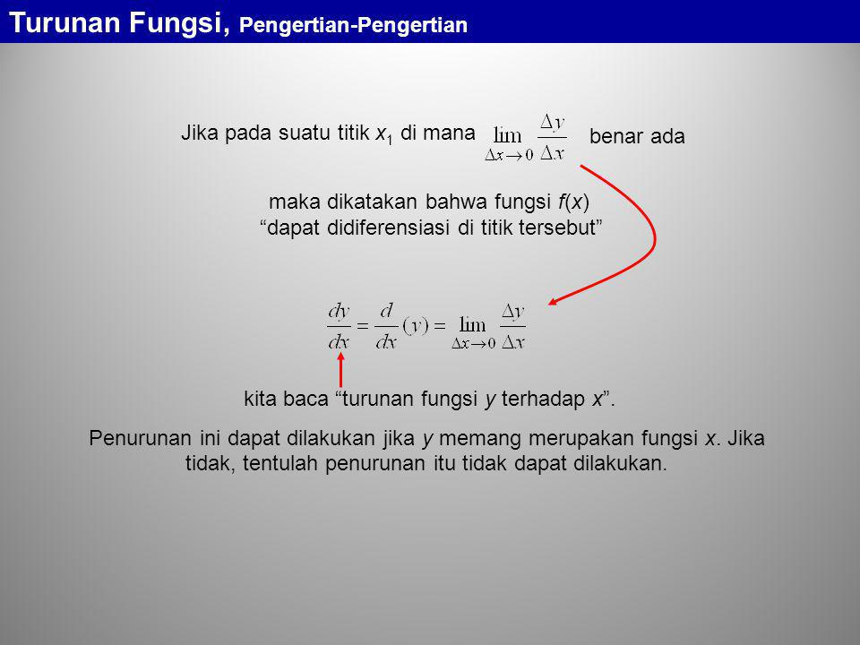 "maka dikatakan bahwa fungsi f(x) ""dapat didiferensiasi di titik tersebut"" Jika pada suatu titik x 1 di mana benar ada kita baca ""turunan fungsi y terh"