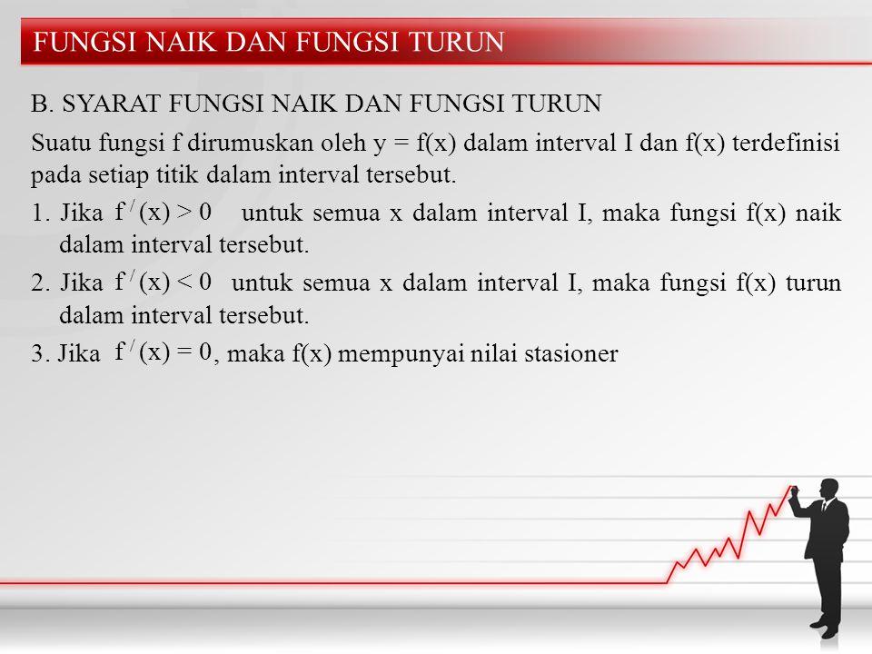 FUNGSI NAIK DAN FUNGSI TURUN B. SYARAT FUNGSI NAIK DAN FUNGSI TURUN Suatu fungsi f dirumuskan oleh y = f(x) dalam interval I dan f(x) terdefinisi pada
