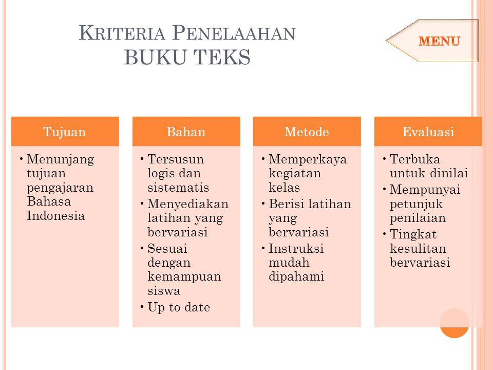 K RITERIA P ENELAAHAN BUKU TEKS Tujuan Menunjang tujuan pengajaran Bahasa Indonesia Bahan Tersusun logis dan sistematis Menyediakan latihan yang berva