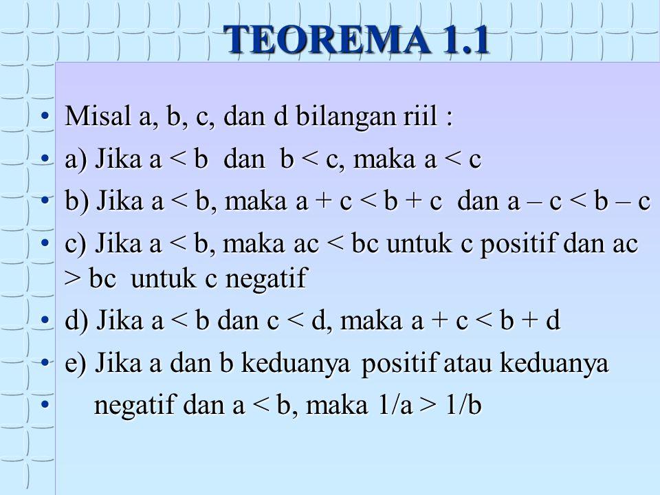 TEOREMA 1.1 Misal a, b, c, dan d bilangan riil :Misal a, b, c, dan d bilangan riil : a) Jika a < b dan b < c, maka a < ca) Jika a < b dan b < c, maka