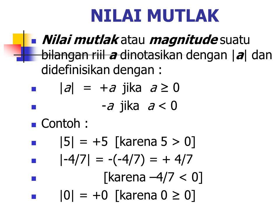 NILAI MUTLAK Nilai mutlak atau magnitude suatu bilangan riil a dinotasikan dengan |a| dan didefinisikan dengan : |a| = +a jika a ≥ 0 -a jika a < 0 Con