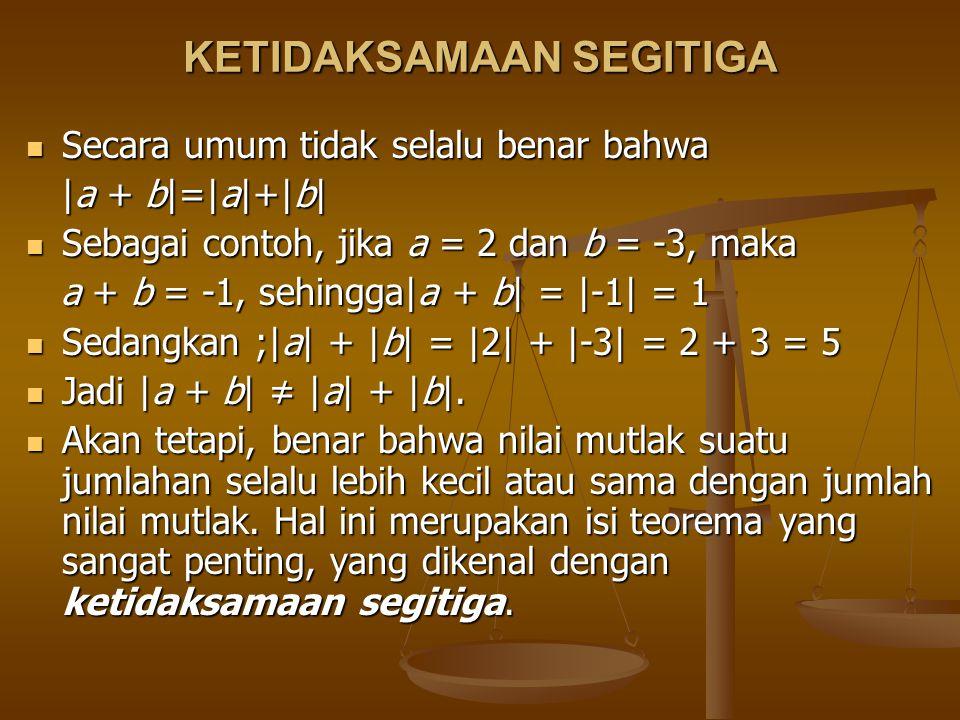 KETIDAKSAMAAN SEGITIGA Secara umum tidak selalu benar bahwa Secara umum tidak selalu benar bahwa |a + b|=|a|+|b| |a + b|=|a|+|b| Sebagai contoh, jika a = 2 dan b = -3, maka Sebagai contoh, jika a = 2 dan b = -3, maka a + b = -1, sehingga|a + b| = |-1| = 1 a + b = -1, sehingga|a + b| = |-1| = 1 Sedangkan ;|a| + |b| = |2| + |-3| = 2 + 3 = 5 Sedangkan ;|a| + |b| = |2| + |-3| = 2 + 3 = 5 Jadi |a + b| ≠ |a| + |b|.