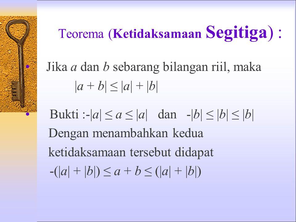 Teorema (Ketidaksamaan Segitiga) : Jika a dan b sebarang bilangan riil, maka |a + b| ≤ |a| + |b| Bukti :-|a| ≤ a ≤ |a| dan -|b| ≤ |b| ≤ |b| Dengan menambahkan kedua ketidaksamaan tersebut didapat -(|a| + |b|) ≤ a + b ≤ (|a| + |b|)