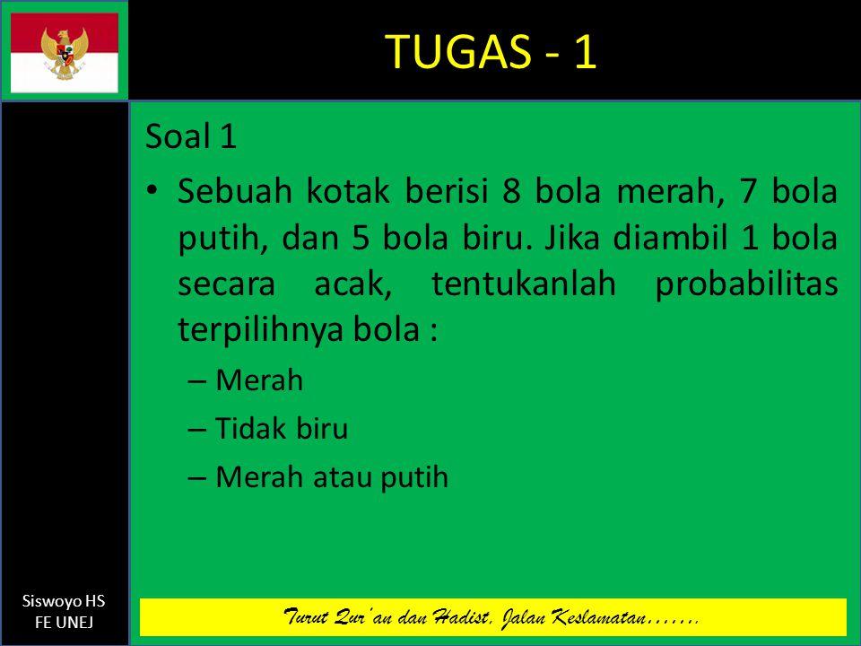 Turut Qur'an dan Hadist, Jalan Keslamatan……. Siswoyo HS FE UNEJ TUGAS - 1 Soal 1 Sebuah kotak berisi 8 bola merah, 7 bola putih, dan 5 bola biru. Jika