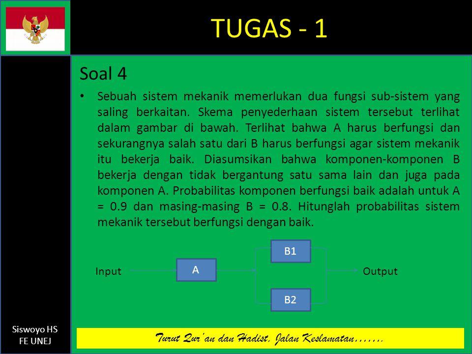 Turut Qur'an dan Hadist, Jalan Keslamatan……. Siswoyo HS FE UNEJ TUGAS - 1 Soal 4 Sebuah sistem mekanik memerlukan dua fungsi sub-sistem yang saling be