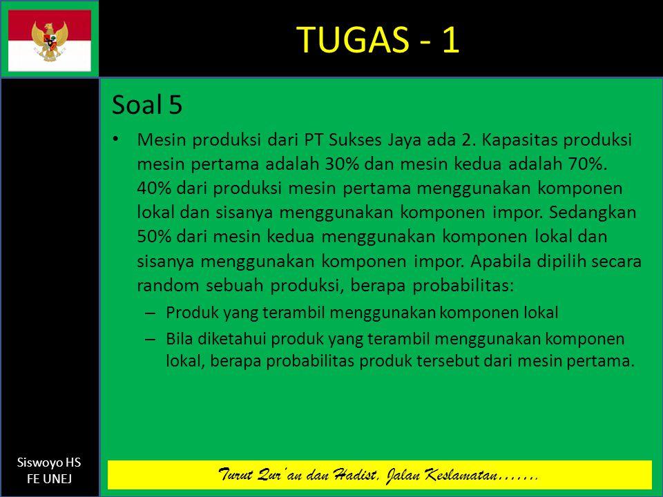 Turut Qur'an dan Hadist, Jalan Keslamatan……. Siswoyo HS FE UNEJ TUGAS - 1 Soal 5 Mesin produksi dari PT Sukses Jaya ada 2. Kapasitas produksi mesin pe