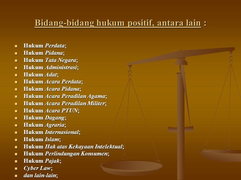 Bidang-bidang hukum positif, antara lain : Hukum Perdata; Hukum Perdata; Hukum Pidana; Hukum Pidana; Hukum Tata Negara; Hukum Tata Negara; Hukum Admin