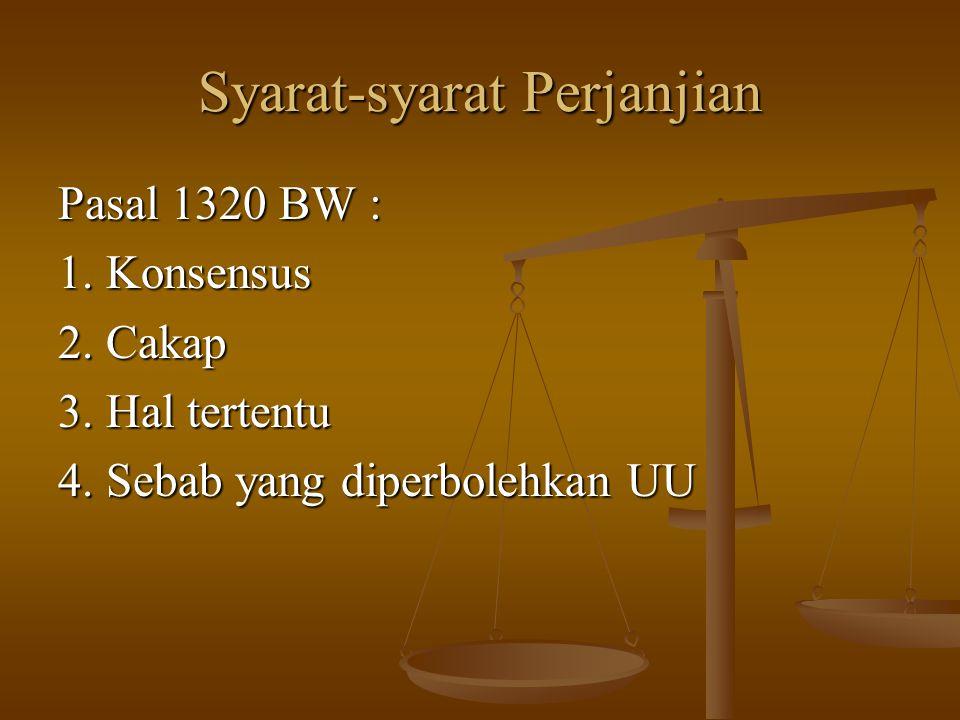 Syarat-syarat Perjanjian Pasal 1320 BW : 1. Konsensus 2. Cakap 3. Hal tertentu 4. Sebab yang diperbolehkan UU