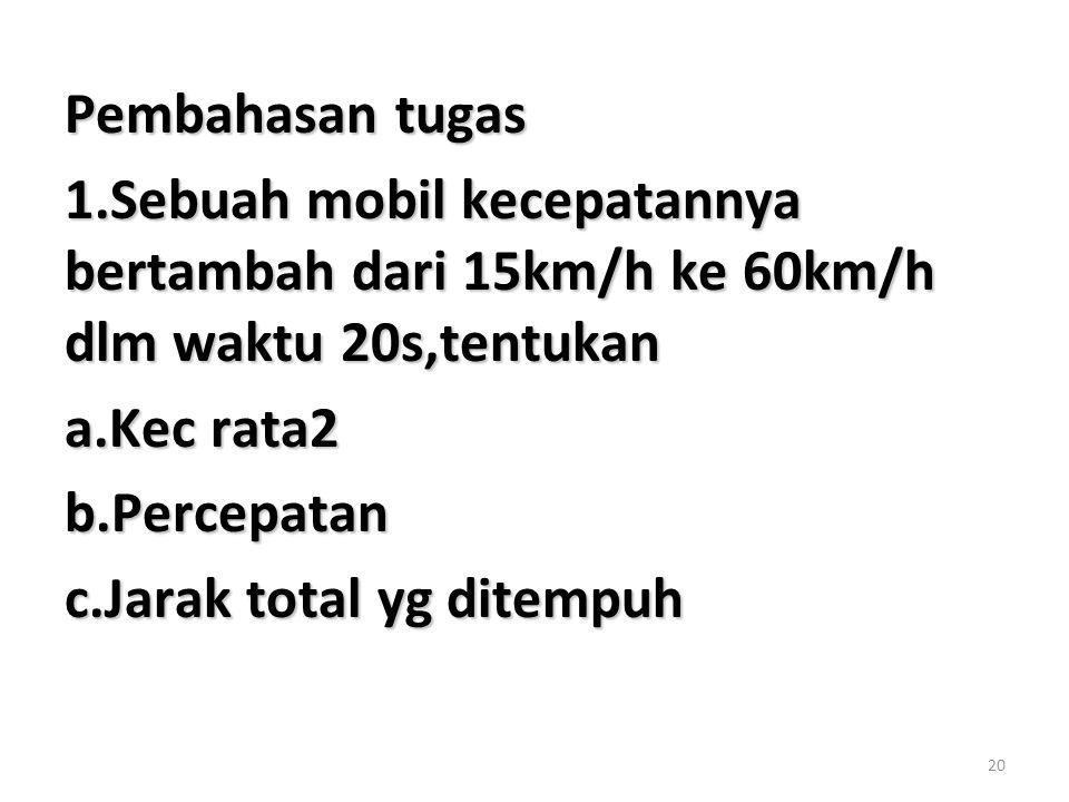 20 Pembahasan tugas 1.Sebuah mobil kecepatannya bertambah dari 15km/h ke 60km/h dlm waktu 20s,tentukan a.Kec rata2 b.Percepatan c.Jarak total yg ditem