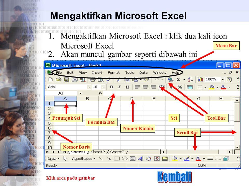 Mengaktifkan Microsoft Excel 1.Mengaktifkan Microsoft Excel : klik dua kali icon Microsoft Excel 2.Akan muncul gambar seperti dibawah ini Sel Formula Bar Nomor Kolom Nomor Baris Penunjuk Sel Scroll Bar Klik area pada gambar Menu Bar Tool Bar
