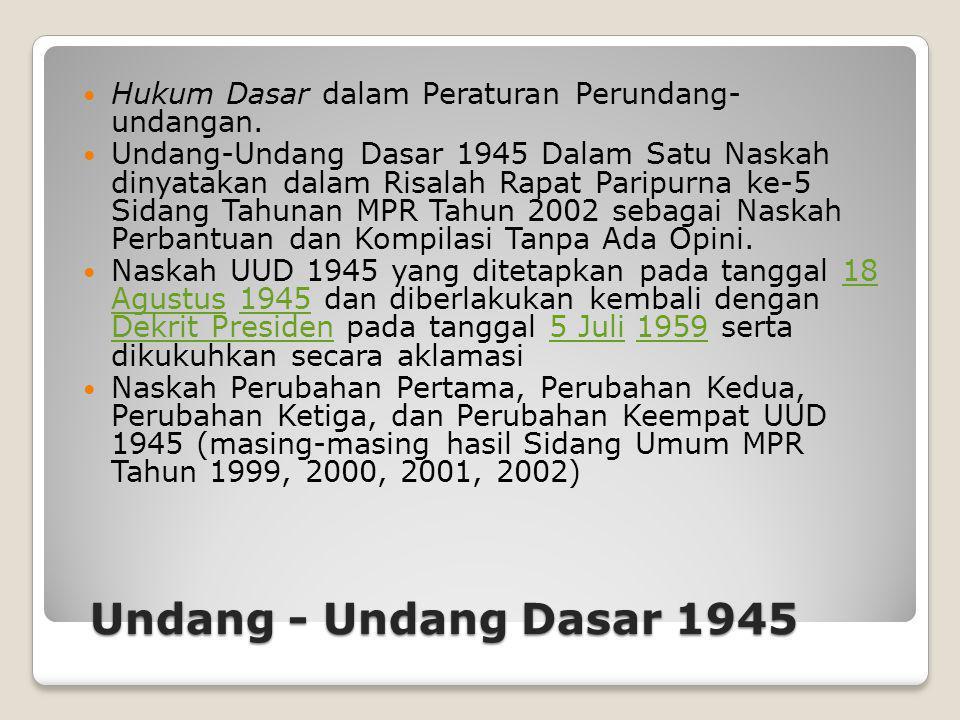 Undang - Undang Dasar 1945 Hukum Dasar dalam Peraturan Perundang- undangan. Undang-Undang Dasar 1945 Dalam Satu Naskah dinyatakan dalam Risalah Rapat