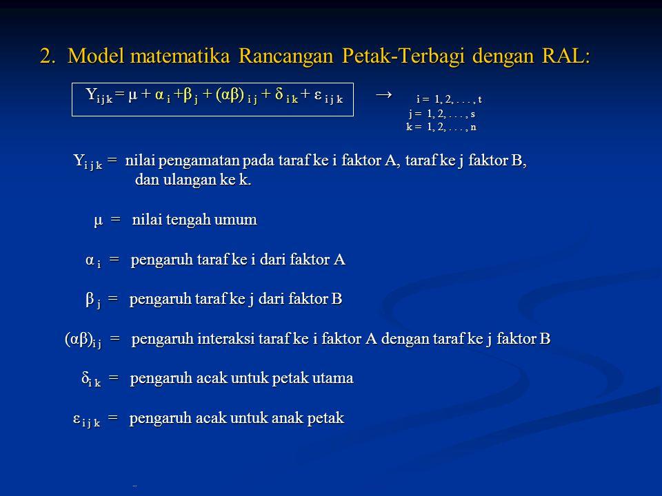 2. Model matematika Rancangan Petak-Terbagi dengan RAL: 2. Model matematika Rancangan Petak-Terbagi dengan RAL: Y i j k = μ + α i +β j + (αβ) i j + δ